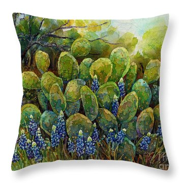 Throw Pillow featuring the painting Bluebonnets And Cactus 2 by Hailey E Herrera