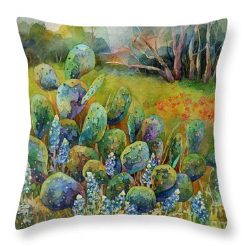 Bluebonnets And Cactus Throw Pillow