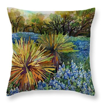 Throw Pillow featuring the painting Bluebonnets And Yucca by Hailey E Herrera