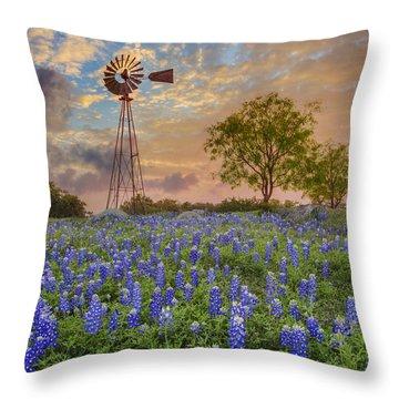 Bluebonnets Beneath A Windmill 2 Throw Pillow