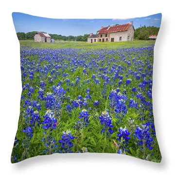 Bluebonnets In Marble Falls Throw Pillow