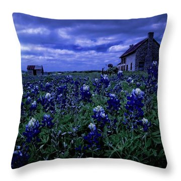 Throw Pillow featuring the photograph Bluebonnets In The Blue Hour by Linda Unger