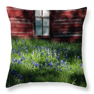 Throw Pillow featuring the photograph Bluebonnets In The Shade by David and Carol Kelly