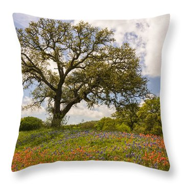 Bluebonnets Paintbrush And An Old Oak Tree - Texas Hill Country Throw Pillow