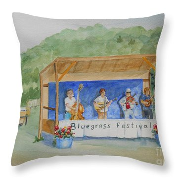 Bluegrass Festival Throw Pillow by Christine Lathrop