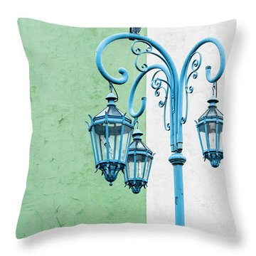 Blue,green And White Throw Pillow