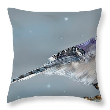 Winter Bluejay Throw Pillow