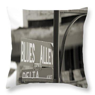 Blues Alley Street Sign Throw Pillow