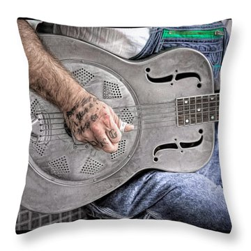 Blues And Tattoos Throw Pillow by Marion Johnson