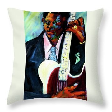 Blues Boy Throw Pillow by Les Leffingwell