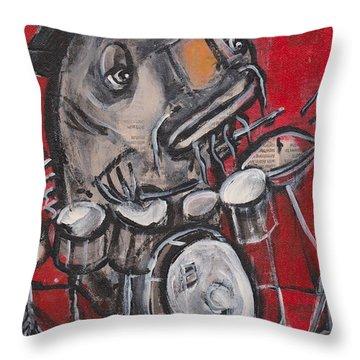 Blues Cat Drums Throw Pillow