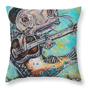 Blues Cat Revisited Throw Pillow