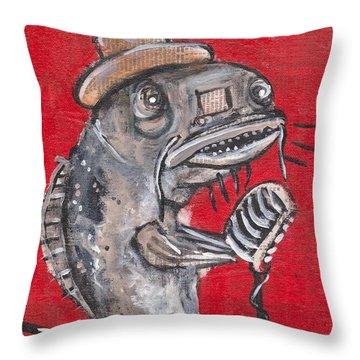 Blues Cat Singer Throw Pillow