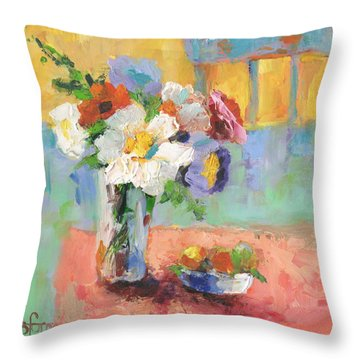 Blues Chair Throw Pillow by Sharon Furner