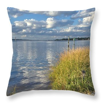 Blues Skies Of The Cape Fear River Throw Pillow