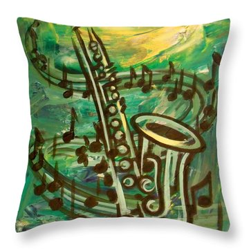 Blues Solo In Green Throw Pillow by Evie Cook