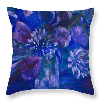 Blues To Brighten Your Day Throw Pillow by Joanne Smoley