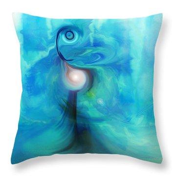 Throw Pillow featuring the digital art Bluescape by Linda Sannuti