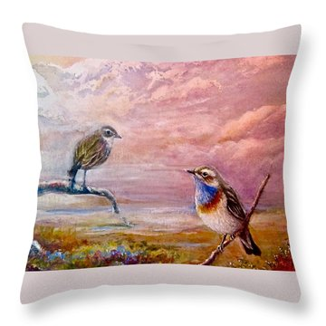 Bluethroat On The Tundra #2 Throw Pillow by Patricia Schneider-Mitchell