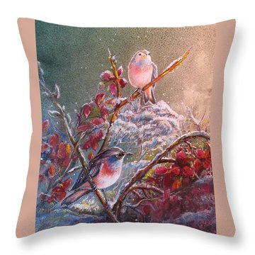 Bluethroat On The Tundra/ #3 Throw Pillow by PS Mitchell