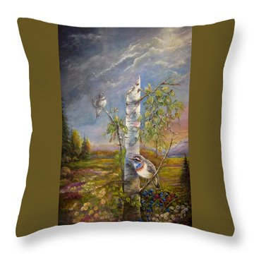 Bluethroat On The Tundra Throw Pillow by Patricia Schneider Mitchell