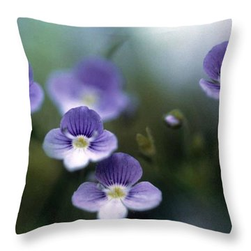 Bluettes Throw Pillow by Laurie Paci
