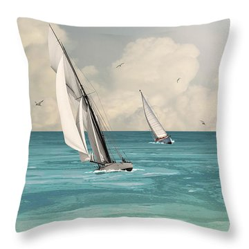 Bluewater Cruising Sailboats Throw Pillow