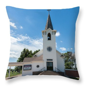 Bluffs Trinity Lutheran Church Throw Pillow by Edward Peterson