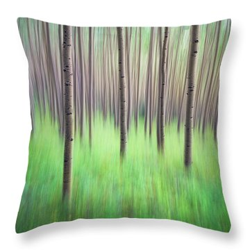 Blurred Aspen Trees Throw Pillow
