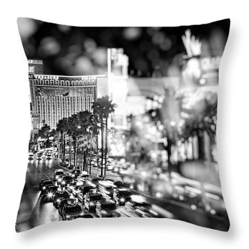 Blurry Vegas Nights IIi Throw Pillow