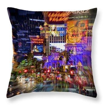 Blurry Vegas Nights Throw Pillow