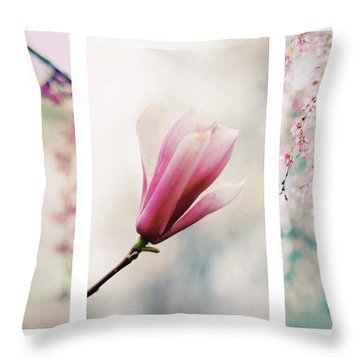 Throw Pillow featuring the photograph Blush Blossom Triptych by Jessica Jenney