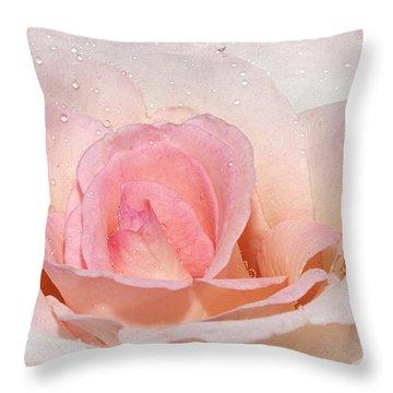 Blush Pink Dewy Rose Throw Pillow