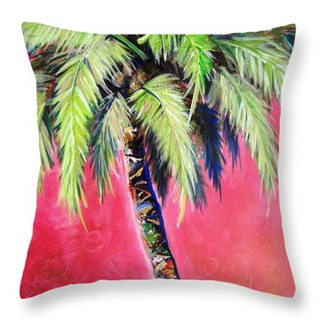 Blushing Pink Palm Throw Pillow