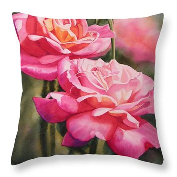 Blushing Roses With Bud Throw Pillow