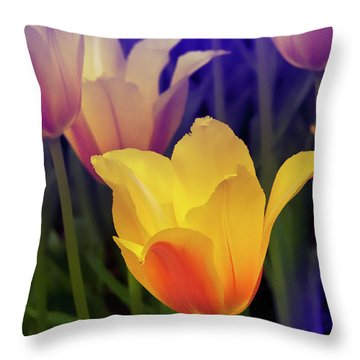Blushing Tulips Throw Pillow by Kat Besthorn