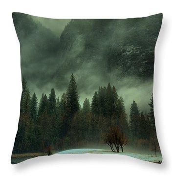 Blustery Yosemite Throw Pillow
