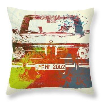 Bmw 2002 Front Watercolor 2 Throw Pillow