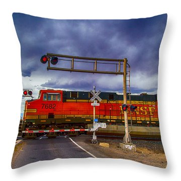 Bnsf 7682 Crossing Throw Pillow by Bartz Johnson