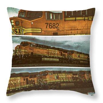 Throw Pillow featuring the digital art Bnsf 7682 Triptych  by Bartz Johnson