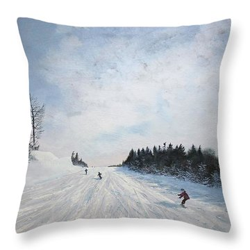 Throw Pillow featuring the painting Boarder Line by Ken Ahlering