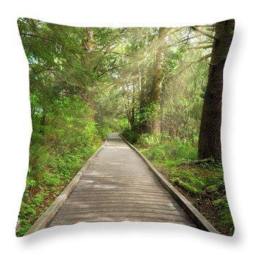 Boardwalk Along Hiking Trail At Fort Clatsop Throw Pillow