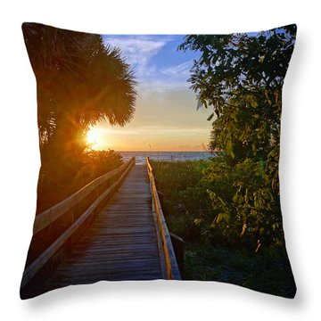 Sunset At The End Of The Boardwalk Throw Pillow