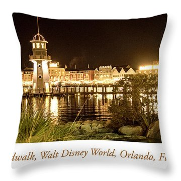 Boardwalk At Night, Walt Disney World Throw Pillow
