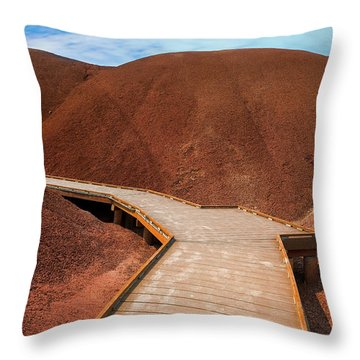 Boardwalk At Painted Cove Hiking Loop Throw Pillow