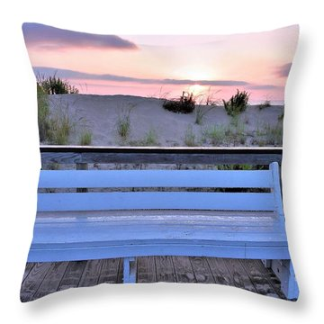 A Welcome Invitation -  The Boardwalk Bench Throw Pillow
