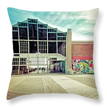 Throw Pillow featuring the photograph Boardwalk Casino - Asbury Park by Colleen Kammerer