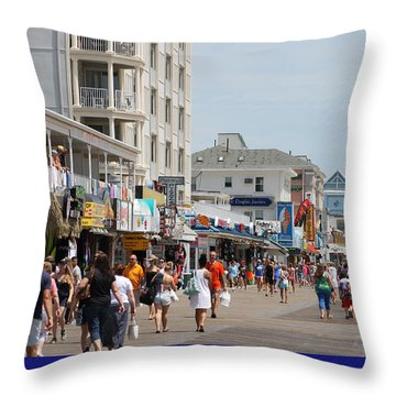 Boardwalk Ocean City Md Throw Pillow by Robert Banach