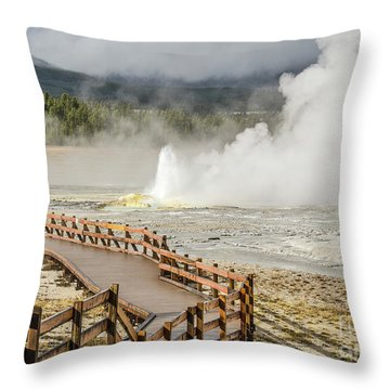 Throw Pillow featuring the photograph Boardwalk Overlooking Spasm Geyser by Sue Smith