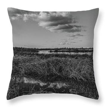 Boardwalk Panorama Monochrome Throw Pillow